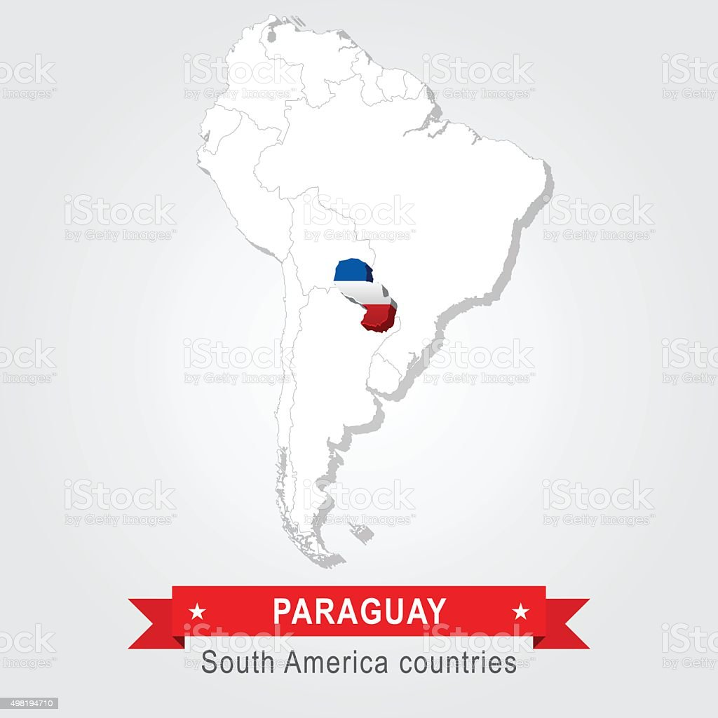 Paraguay. All the countries of South America. Flag version. vector art illustration