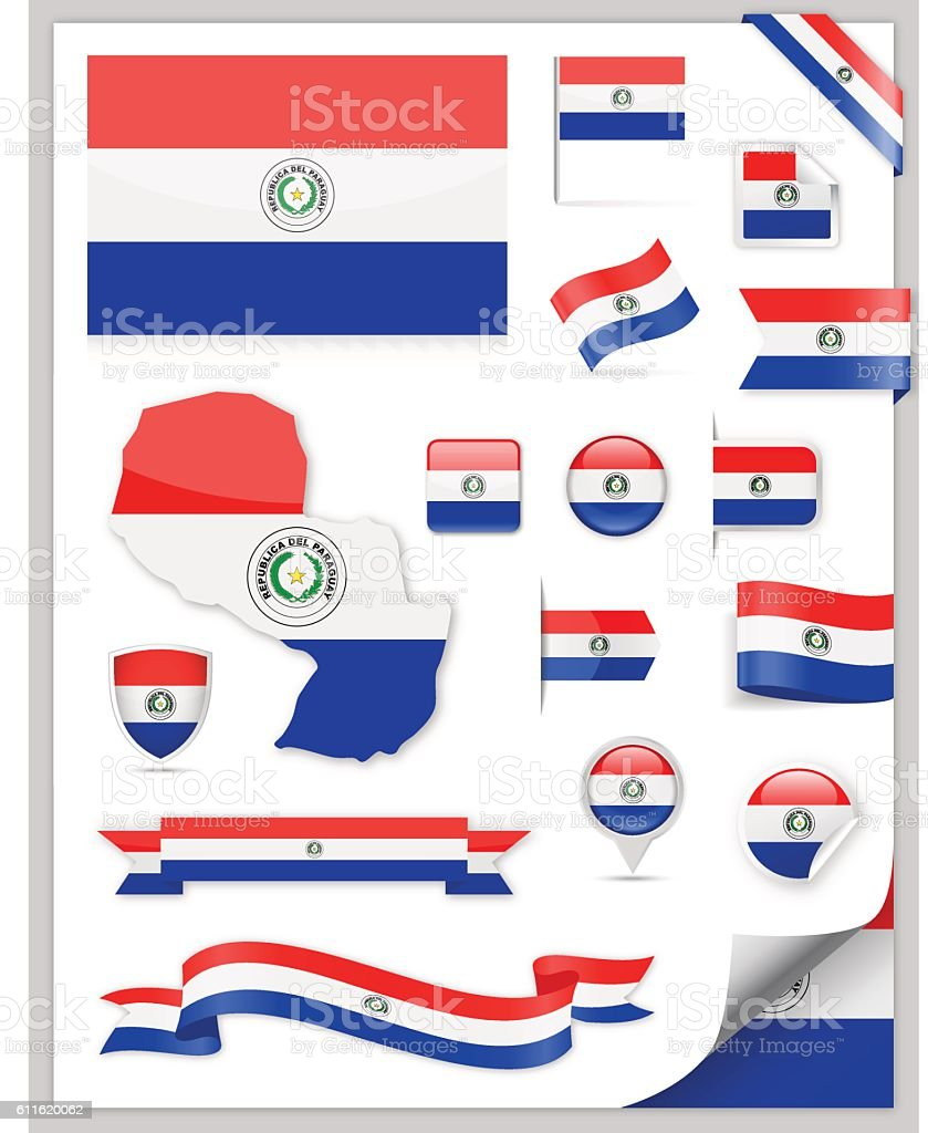 Paraguay Flag Set - Vector Collection vector art illustration