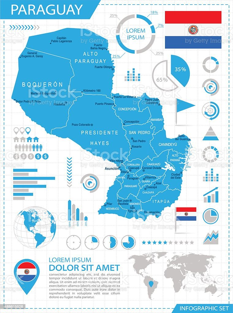 Paraguay - infographic map - Illustration vector art illustration