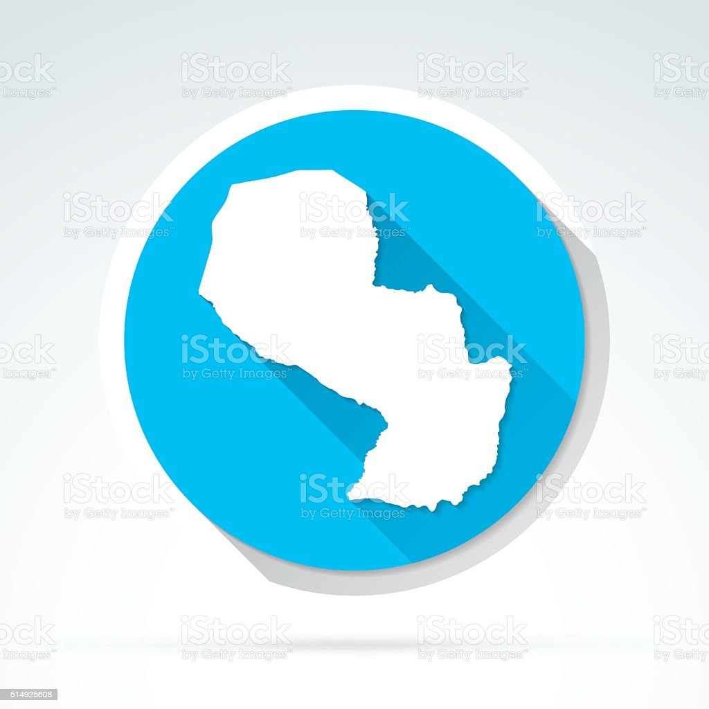 Paraguay map icon, Flat Design, Long Shadow vector art illustration
