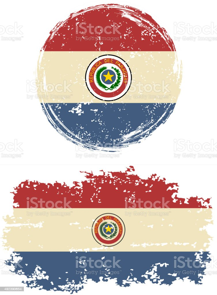 Paraguayan round and square grunge flags. Vector illustration vector art illustration