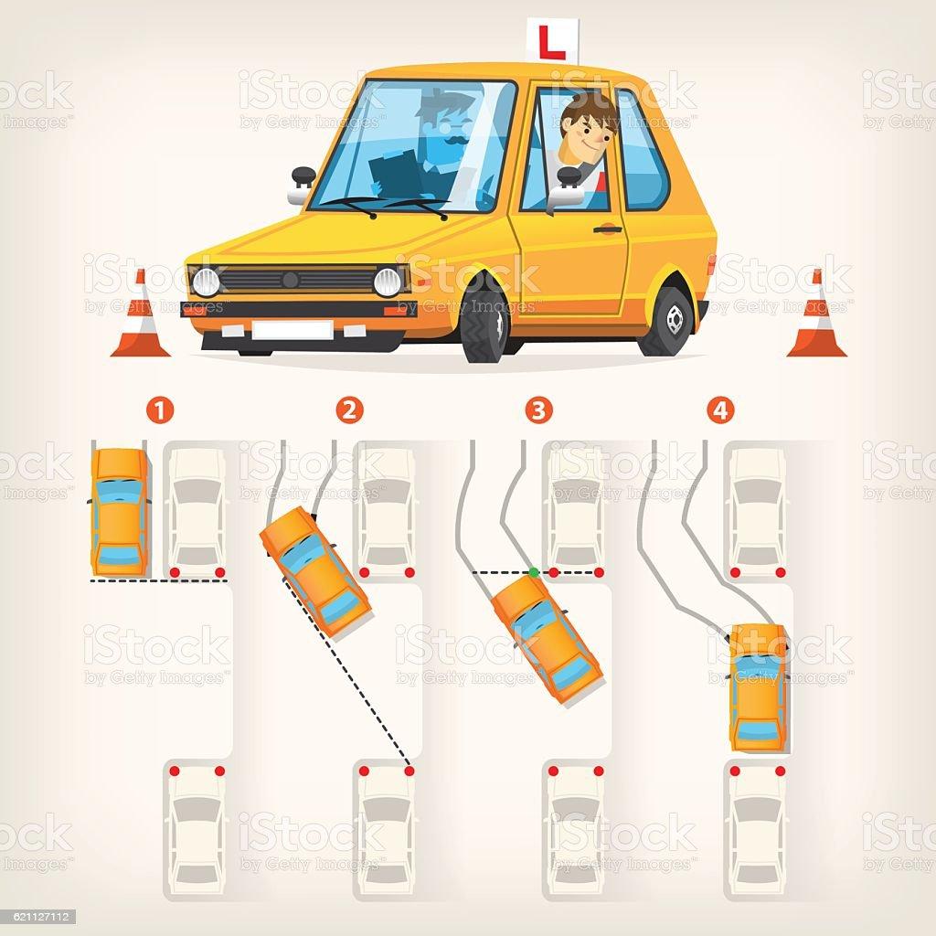 Parallel parking scheme vector art illustration