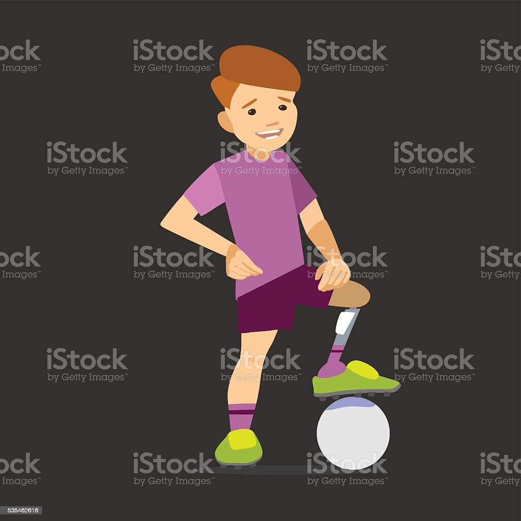 Paralympic athlete child on the prosthesis with a soccer ball. vector art illustration