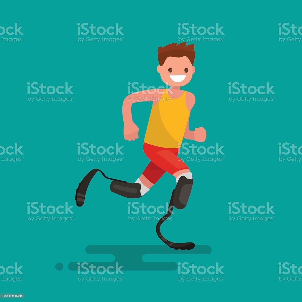 Paralympic athlete runs on prostheses. Vector illustration vector art illustration