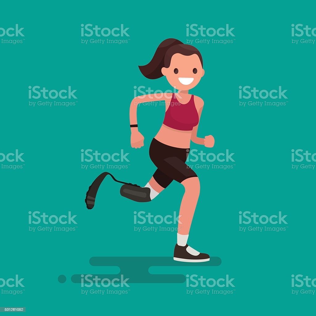 Paralympic Athlete woman running on the prosthesis. Vector illus vector art illustration