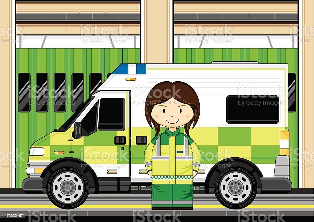 Paramedic with Ambulance Scene royalty-free stock vector art