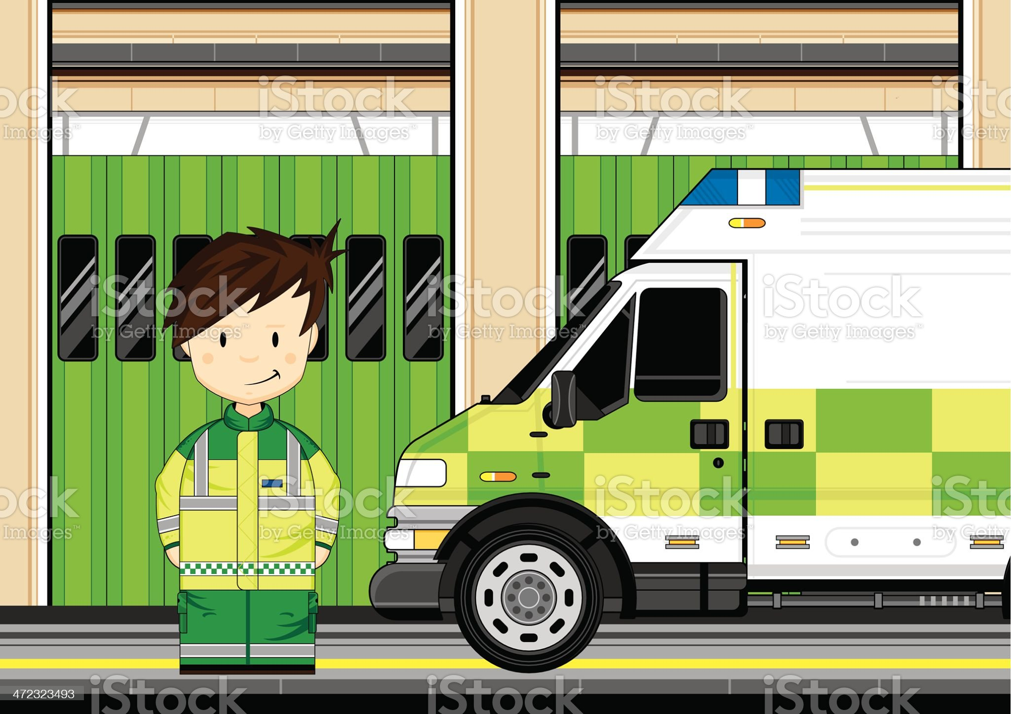 Paramedic with Ambulance Scene royalty-free stock vector art