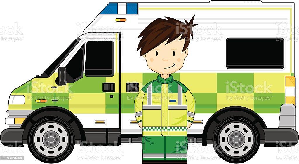 Paramedic with Ambulance royalty-free stock vector art