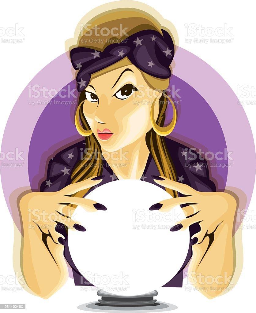 Paranormal Mystical Astrology Fortune Teller Crystall Ball Divine vector art illustration