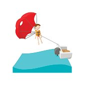 Parasailing cartoon icon