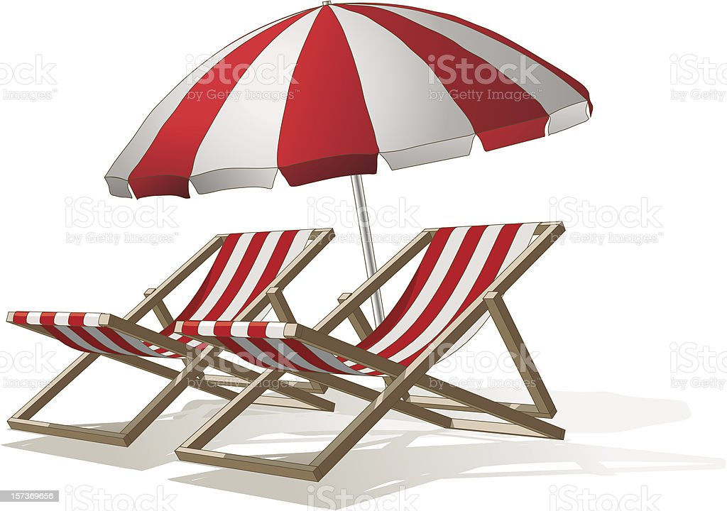 Parasol and deck chairs vector art illustration