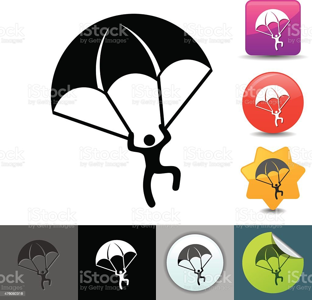 Paratrooper icon | solicosi series vector art illustration