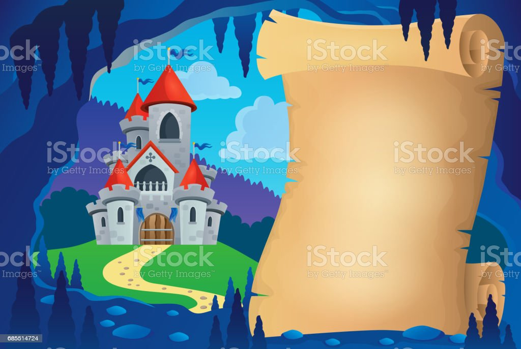 Parchment in fairy tale cave image 1 vector art illustration