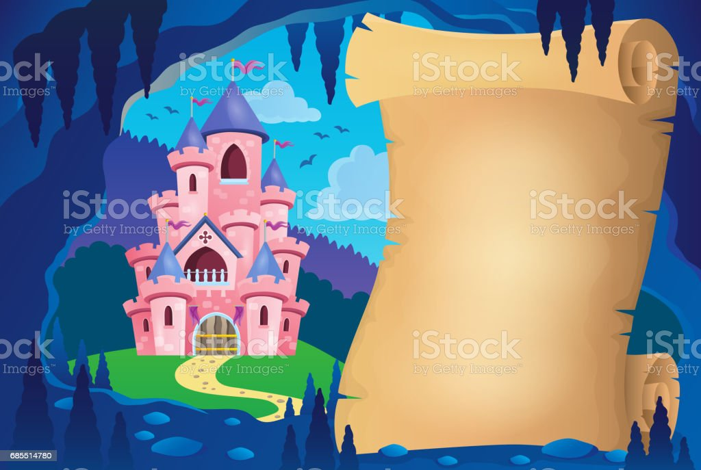 Parchment in fairy tale cave image 2 vector art illustration