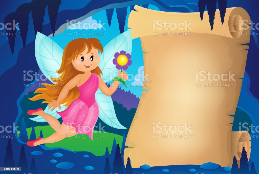 Parchment in fairy tale cave image 3 vector art illustration