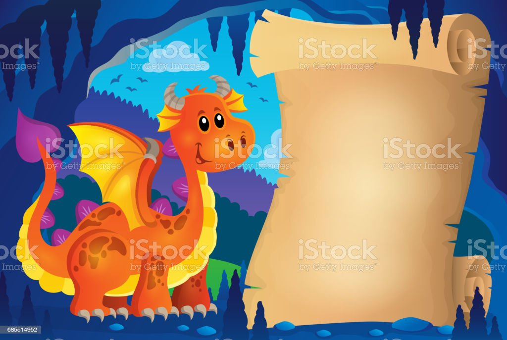 Parchment in fairy tale cave image 4 vector art illustration