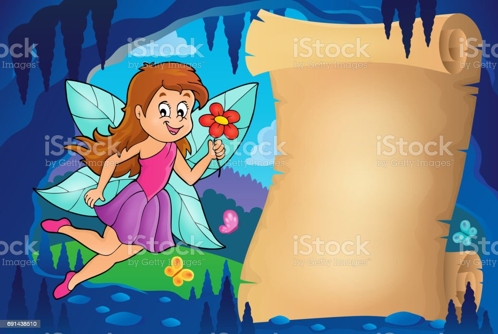 Parchment in fairy tale cave image 5 vector art illustration