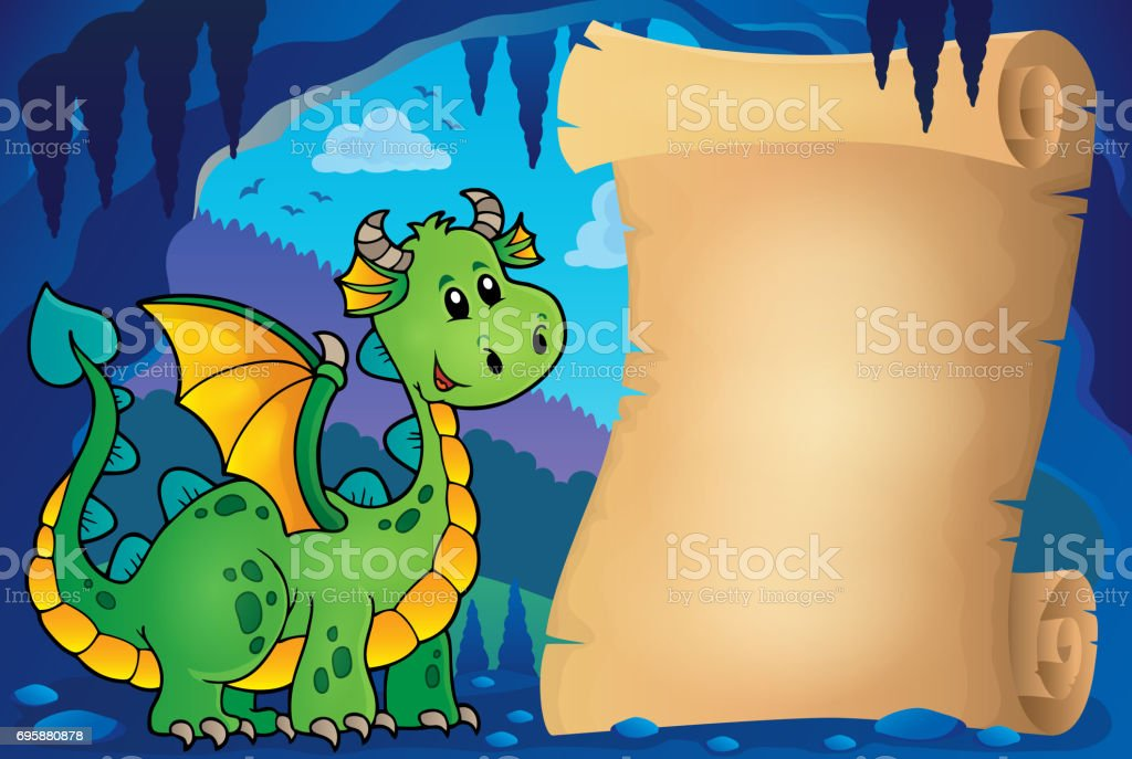 Parchment in fairy tale cave image 6 vector art illustration