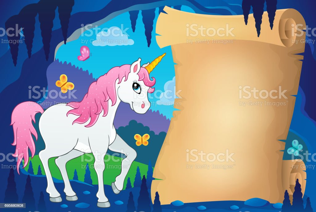 Parchment in fairy tale cave image 7 vector art illustration