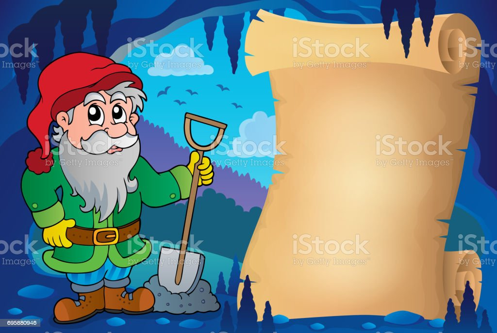 Parchment in fairy tale cave image 8 vector art illustration