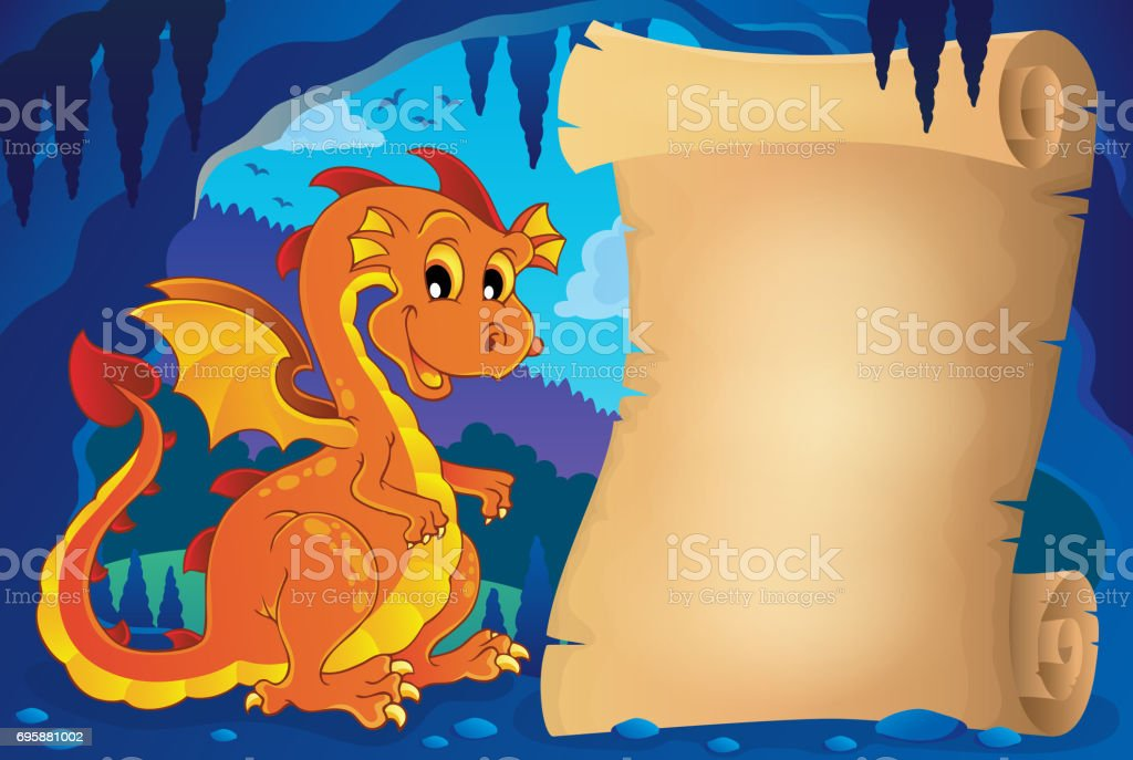 Parchment in fairy tale cave image 9 vector art illustration