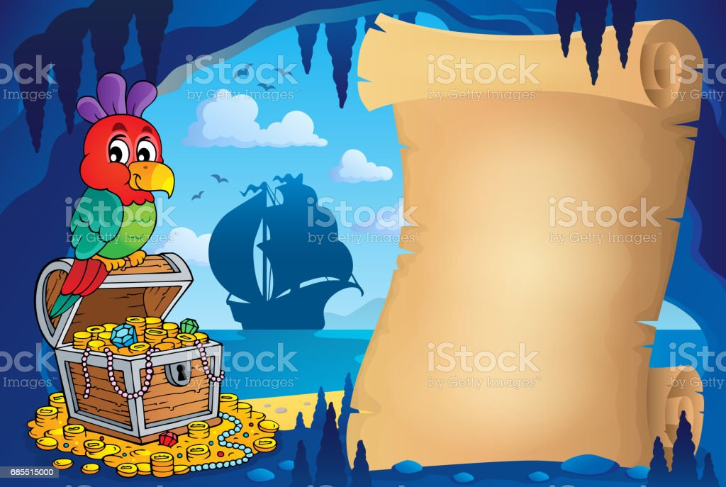 Parchment in pirate cave image 1 vector art illustration