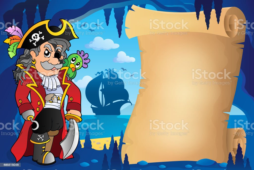 Parchment in pirate cave image 2 vector art illustration