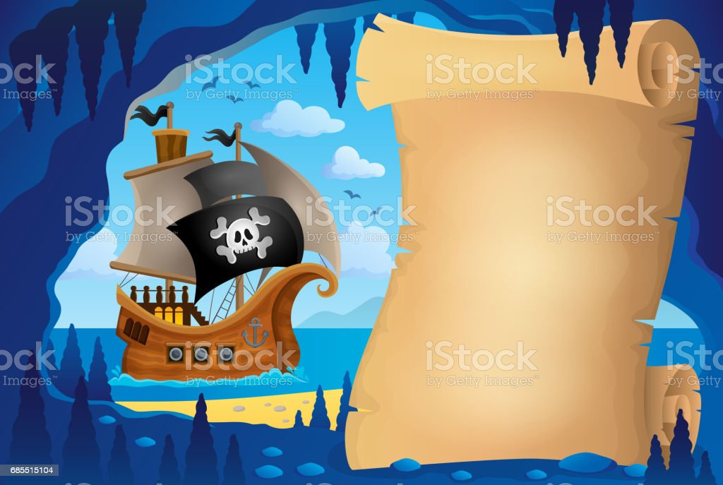 Parchment in pirate cave image 3 vector art illustration
