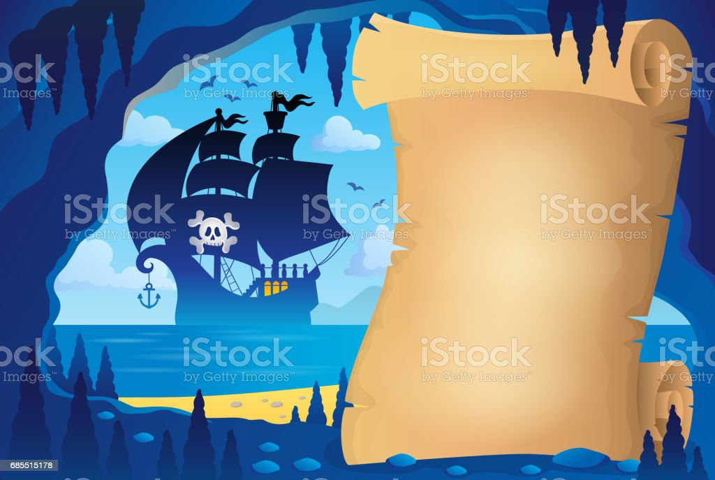 Parchment in pirate cave image 4 vector art illustration