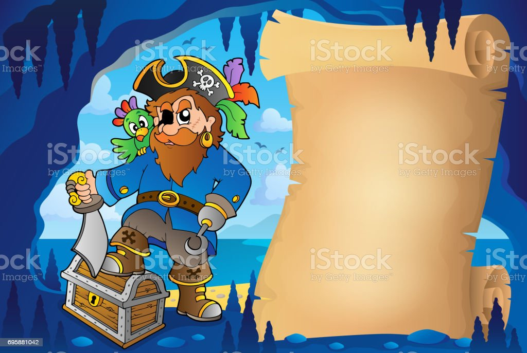 Parchment in pirate cave image 5 vector art illustration