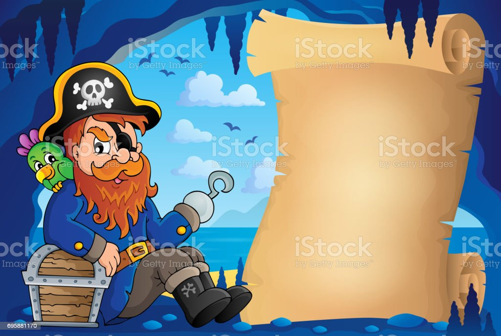 Parchment in pirate cave image 6 vector art illustration