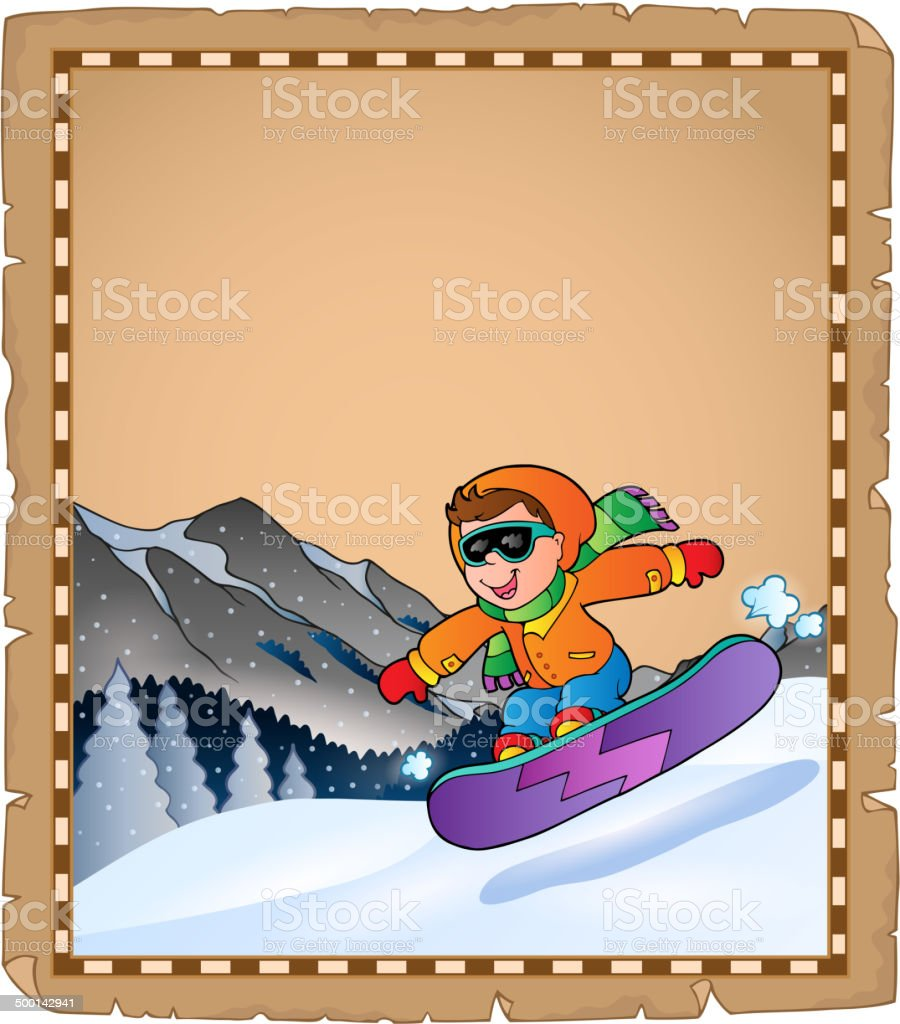 Parchment with winter sport theme 3 royalty-free stock vector art