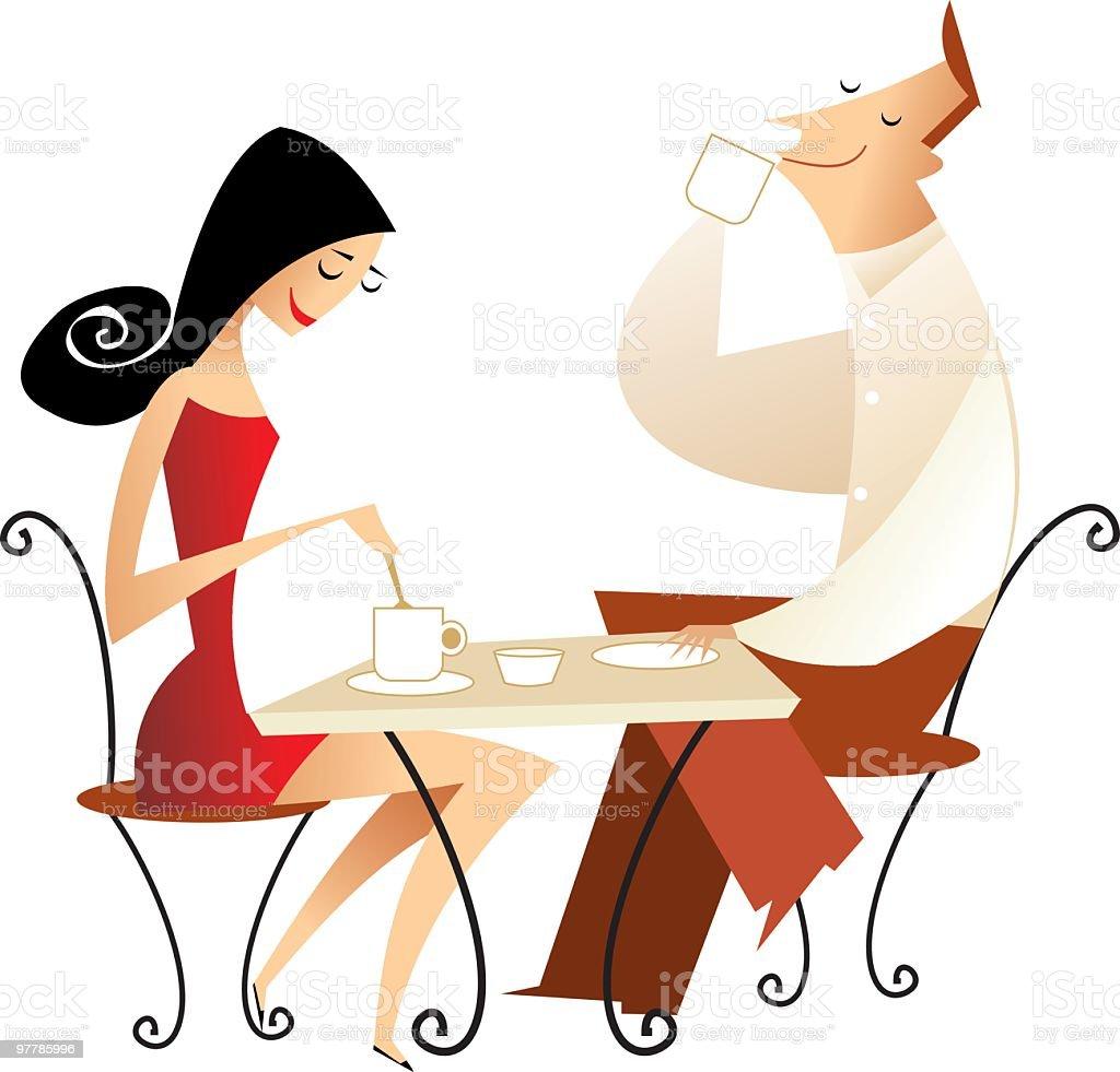 pareja tomando café vector art illustration