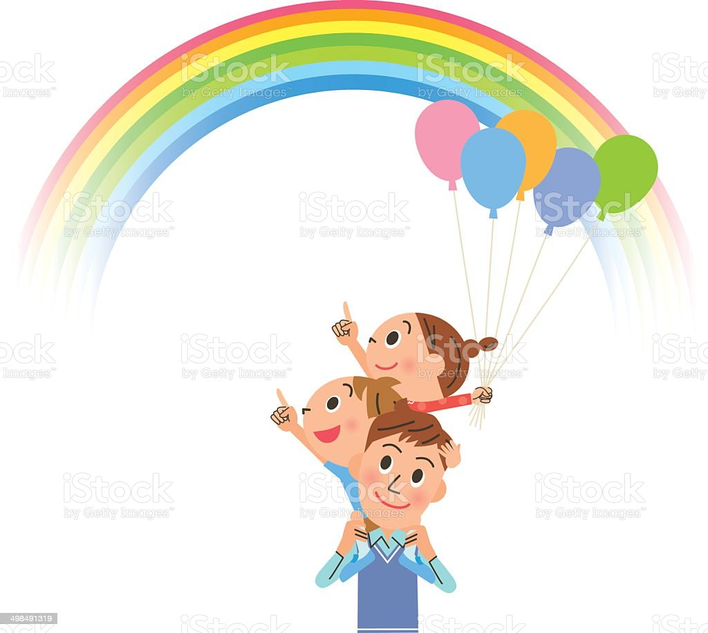 Parent and child who look up at the rainbow vector art illustration