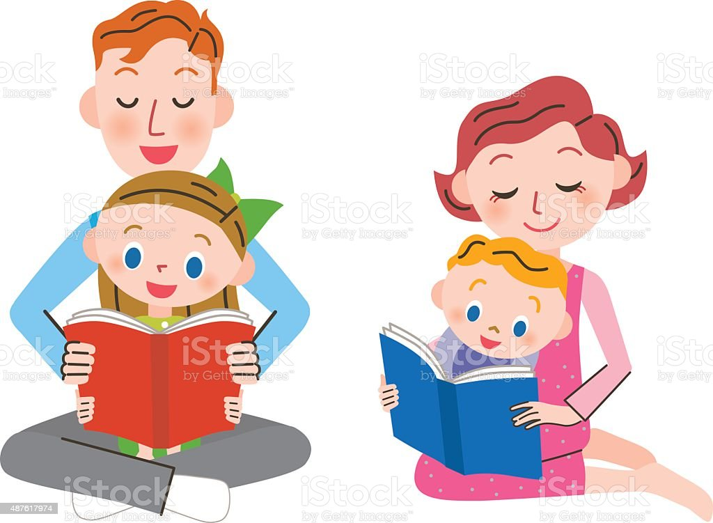 Parent and child who read a book vector art illustration