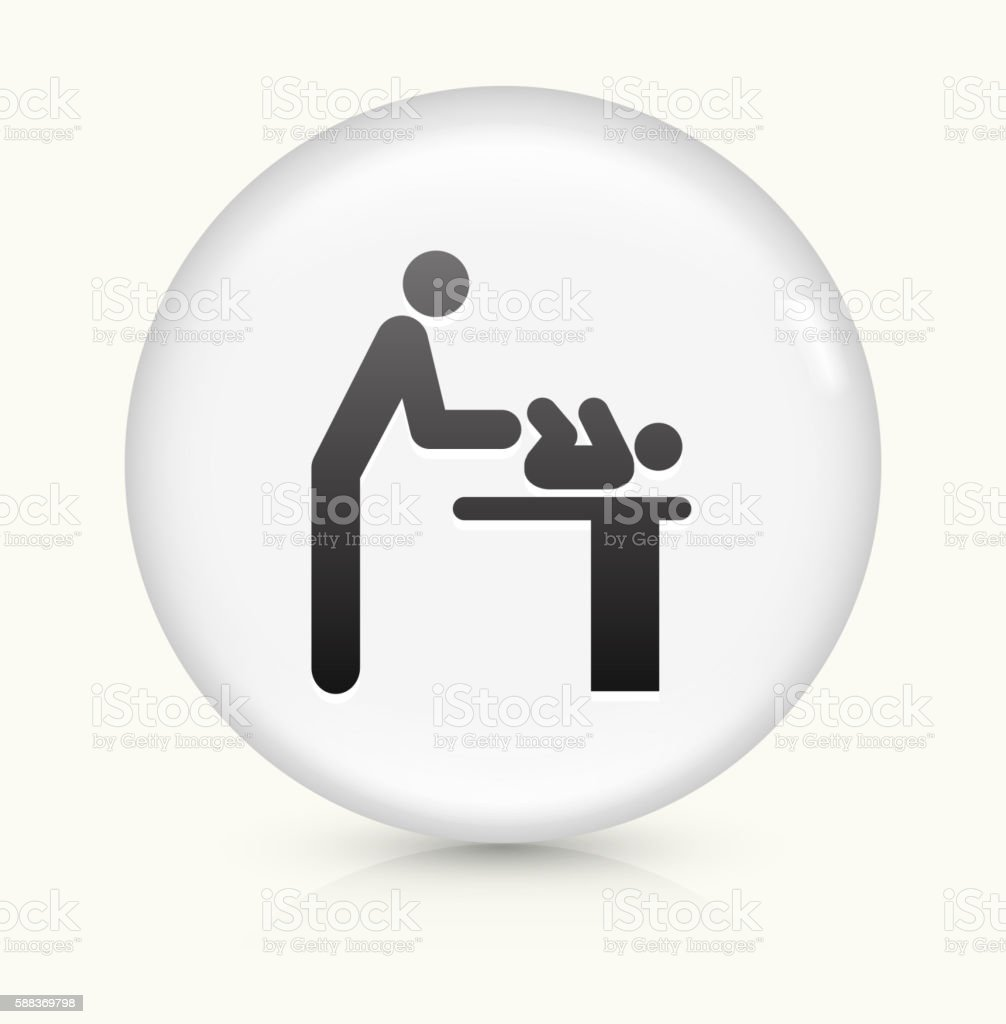 Parent Changing Baby icon on white round vector button vector art illustration