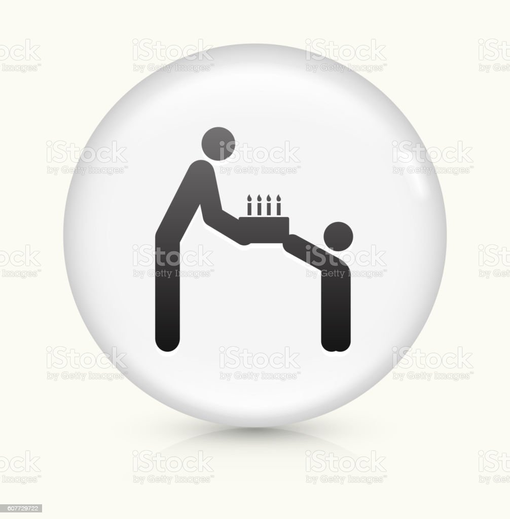Parent Giving Cake  Child icon on white round vector button vector art illustration