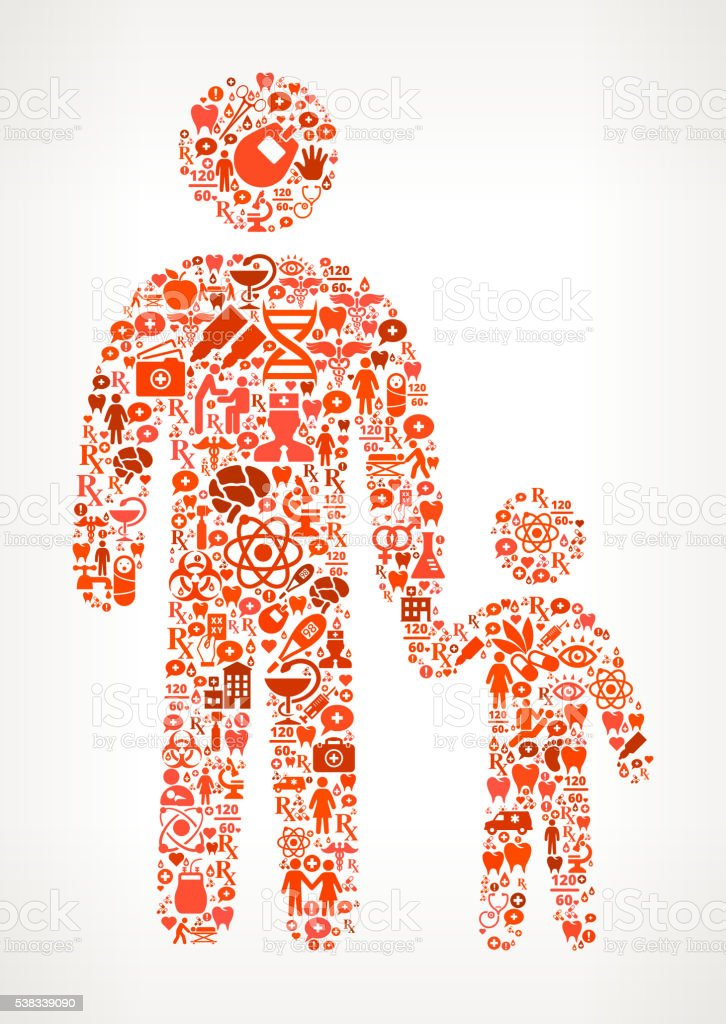parent Healthcare and Medicine Seamless Icon Pattern vector art illustration