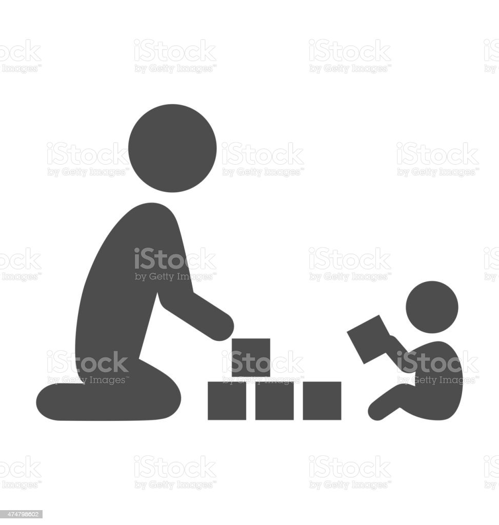 Parent plays with the baby pictogram flat icon isolated vector art illustration