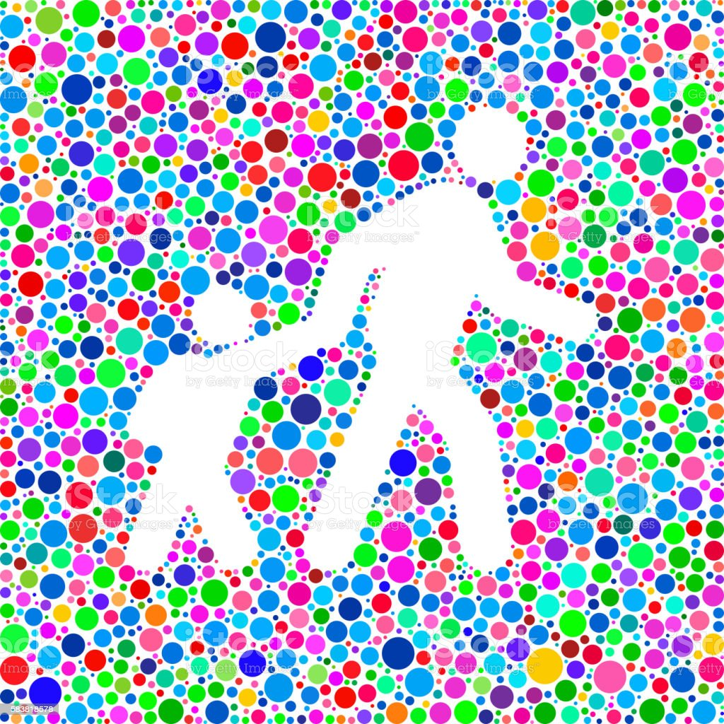 Parent Walking Child Icon on Color Circle Background Pattern vector art illustration