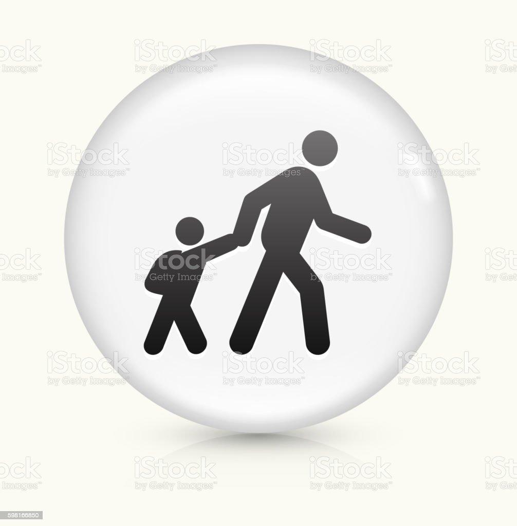 Parent Walking Child  icon on white round vector button vector art illustration