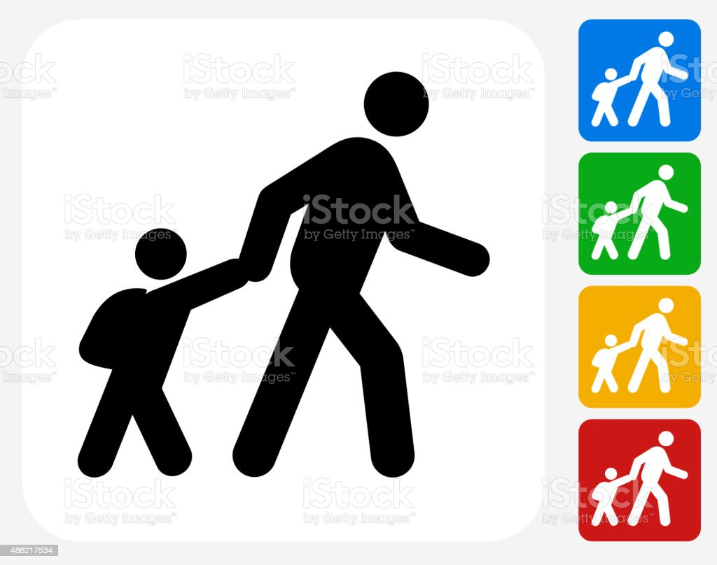 Parent Walking Child to School Icon Flat Graphic Design vector art illustration