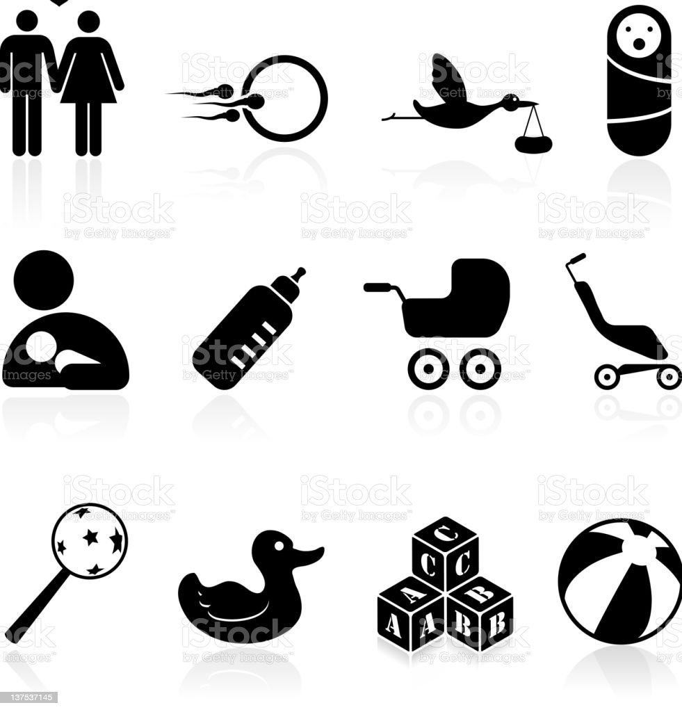 parenting black and white royalty free vector icon set stock photo