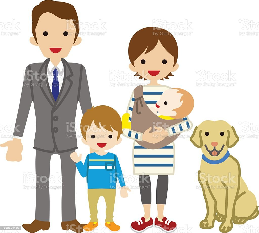 Parents and Two Children with Dog - Son vector art illustration