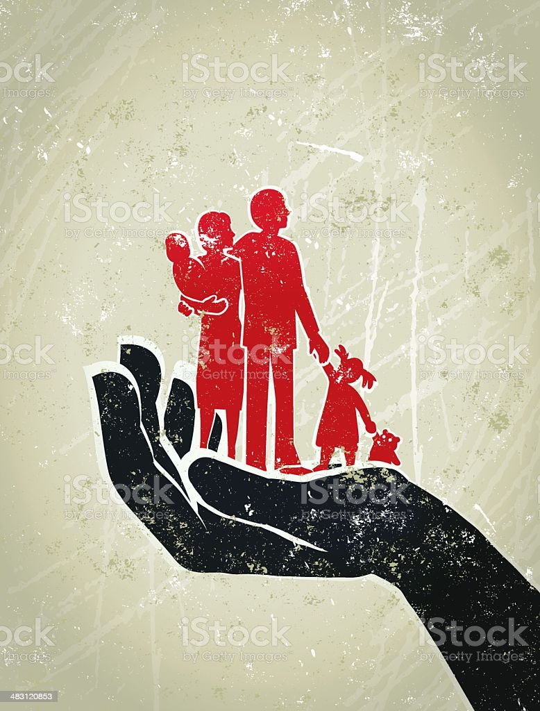 Parents, Children Standing on a Giant Protective Hand royalty-free stock vector art