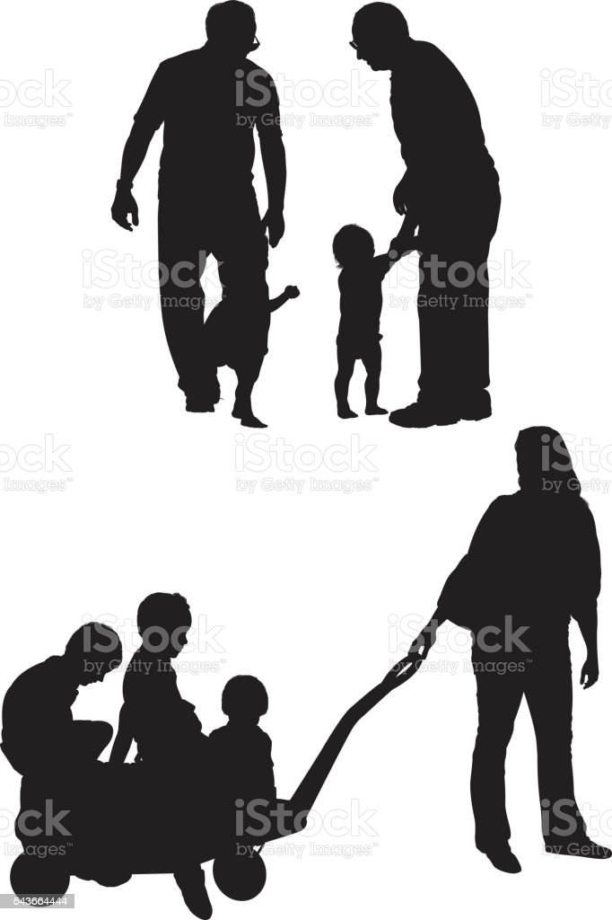 Parents in various actions with their children vector art illustration