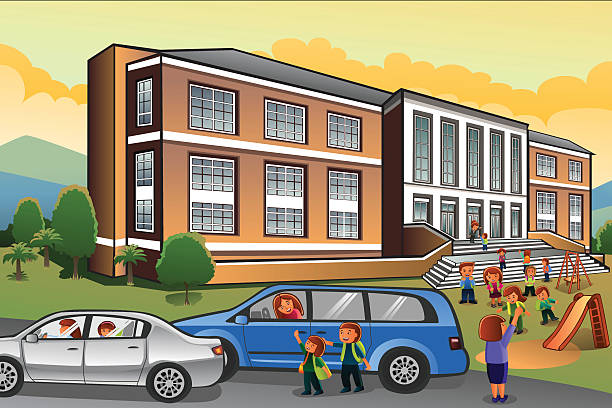 Parent Picking Up Child From School Clip Art, Vector Images