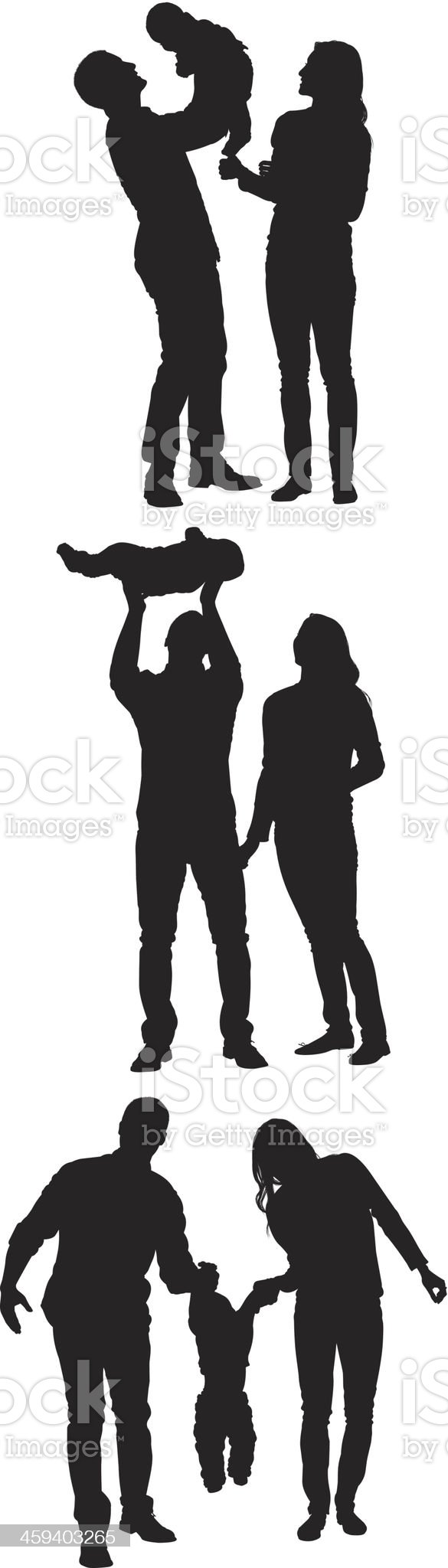 Parents playing with baby royalty-free stock vector art