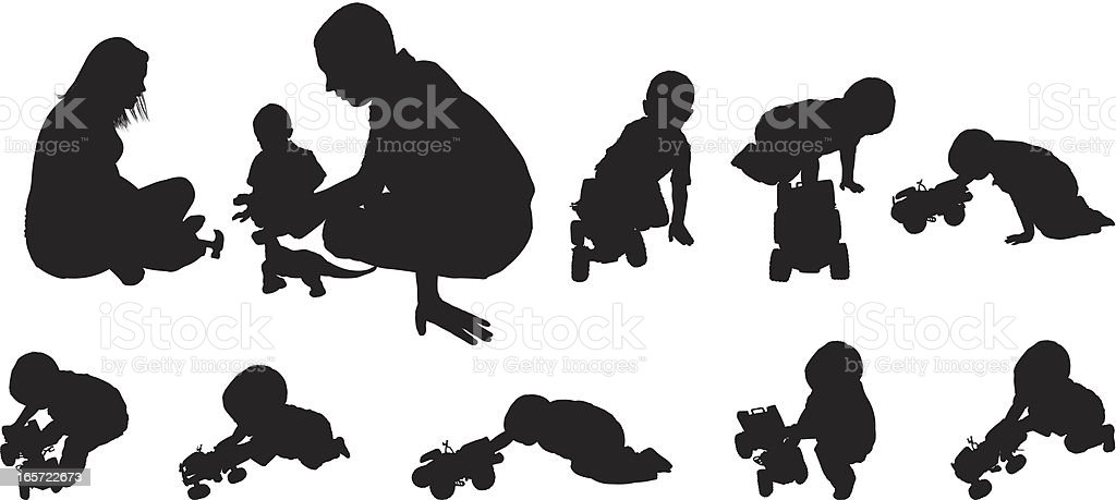 Parents playing with their child royalty-free stock vector art