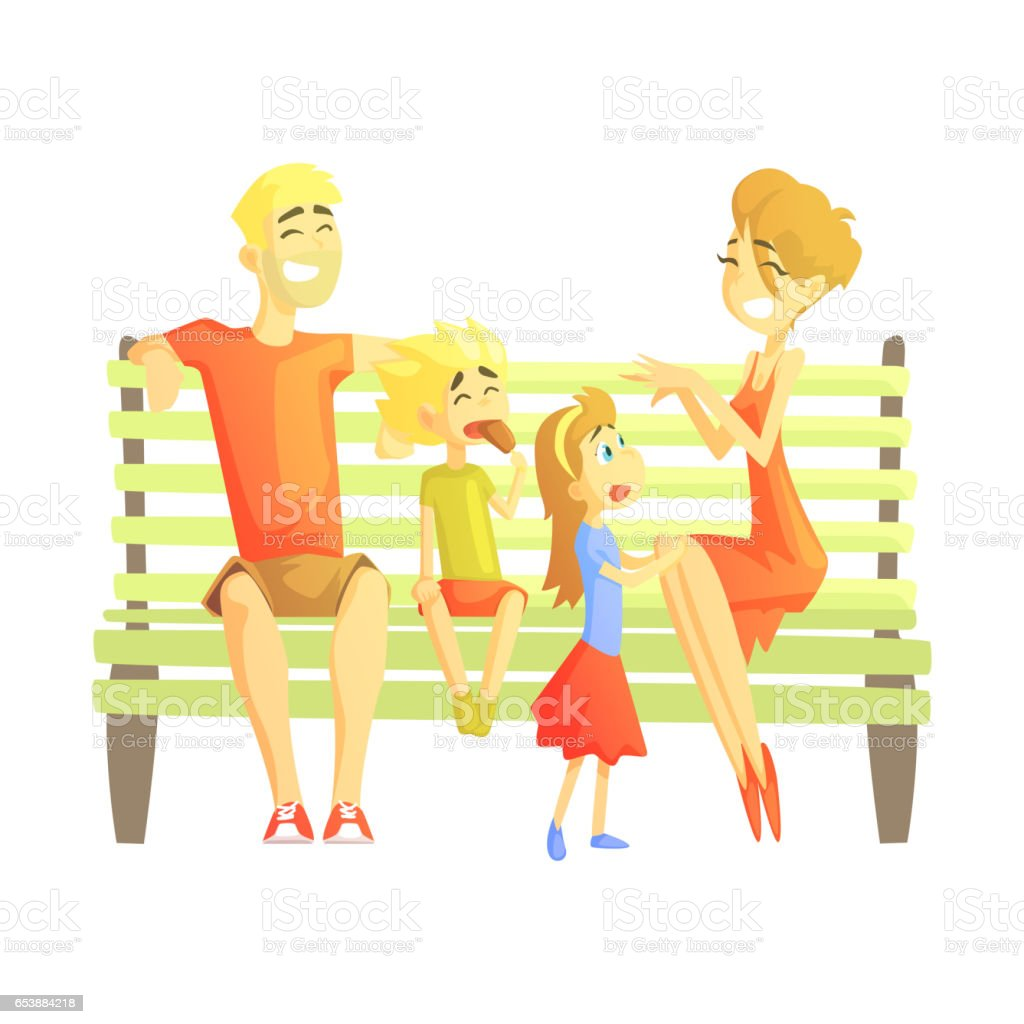 Parents, Son And Daughter Sitting On Park Bench, Happy Loving Families With Kids Spending Weekend Together Vector Illustration vector art illustration
